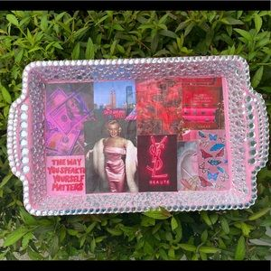 Pink Aesthetic Tray with Jewels